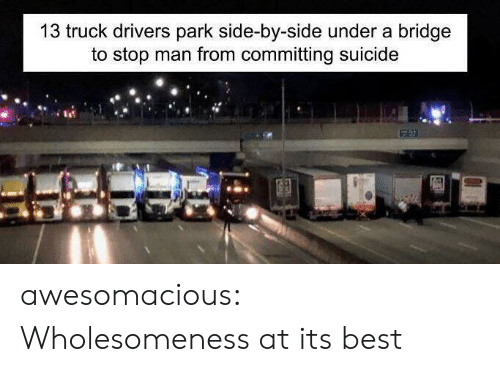 Committing Suicide: 13 truck drivers park side-by-side under a bridge  to stop man from committing suicide awesomacious:  Wholesomeness at its best