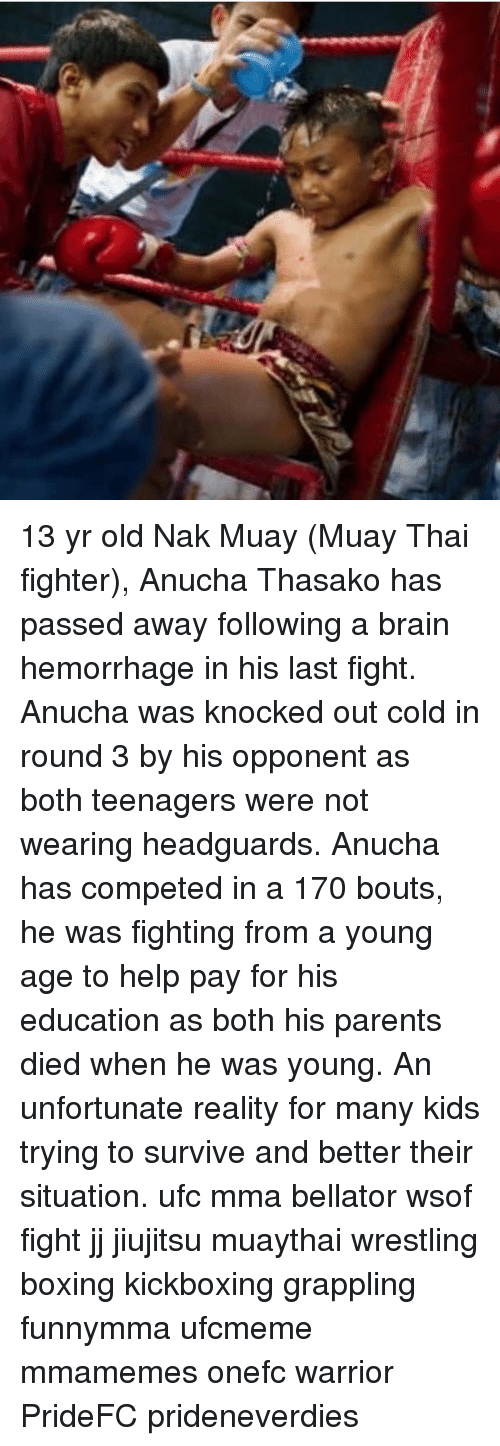 knocked out: 13 yr old Nak Muay (Muay Thai fighter), Anucha Thasako has passed away following a brain hemorrhage in his last fight. Anucha was knocked out cold in round 3 by his opponent as both teenagers were not wearing headguards. Anucha has competed in a 170 bouts, he was fighting from a young age to help pay for his education as both his parents died when he was young. An unfortunate reality for many kids trying to survive and better their situation. ufc mma bellator wsof fight jj jiujitsu muaythai wrestling boxing kickboxing grappling funnymma ufcmeme mmamemes onefc warrior PrideFC prideneverdies
