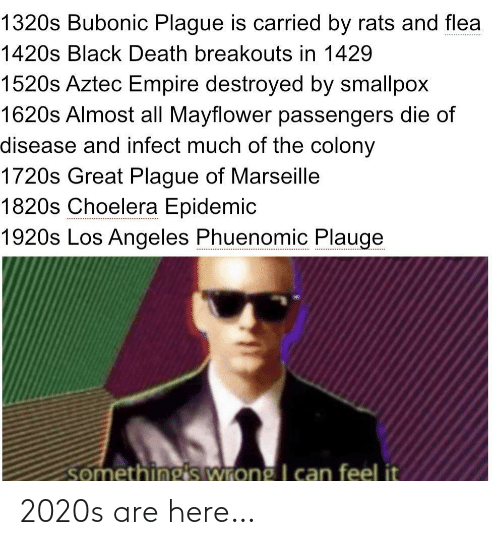 Aztec: 1320s Bubonic Plague is carried by rats and flea  1420s Black Death breakouts in 1429  1520s Aztec Empire destroyed by smallpox  1620s Almost all Mayflower passengers die of  disease and infect much of the colony  1720s Great Plague of Marseille  1820s Choelera Epidemic  1920s Los Angeles Phuenomic Plauge  somethings wrong I can feel it 2020s are here…