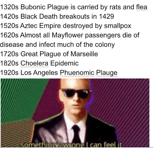 Aztec: 1320s Bubonic Plague is carried by rats and flea  .....  1420s Black Death breakouts in 1429  1520s Aztec Empire destroyed by smallpox  1620s Almost all Mayflower passengers die of  disease and infect much of the colony  1720s Great Plague of Marseille  1820s Choelera Epidemic  1920s Los Angeles Phuenomic Plauge  somethingis wrong I can feel it Oh boy