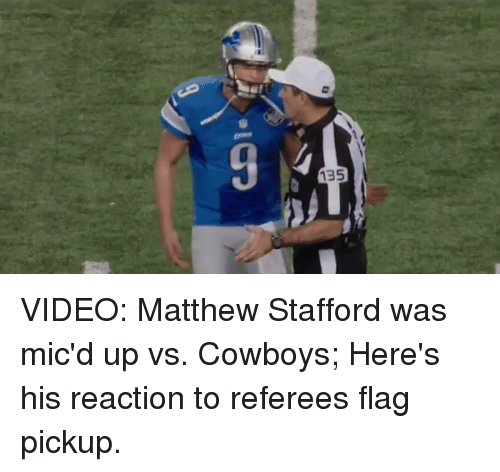 135 Video Matthew Stafford Was Mic D Up Vs Cowboys Here S