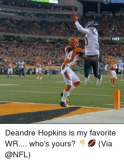 Memes, Nfl, and 🤖: 14-23  0  29 Deandre Hopkins is my favorite WR.... who's yours? 👇🏼🏈 (Via @NFL)