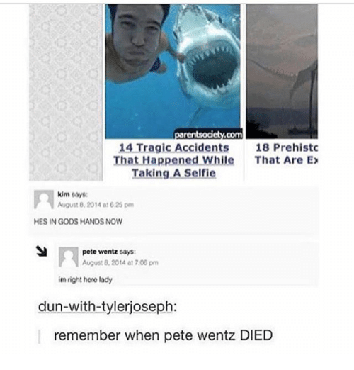 Peted: 14 Tragic Accidents  18 Prehistc  That Happened While  That Are Ex  Taking A Self ie  kim  says:  August 8, 2014 at 625 pm  HES IN GODS HANDS NOW  pete wentz says:  August 2014 at 7.00 pm  im right here lady  dun-with-tylerjoseph:  remember when pete wentz DIED