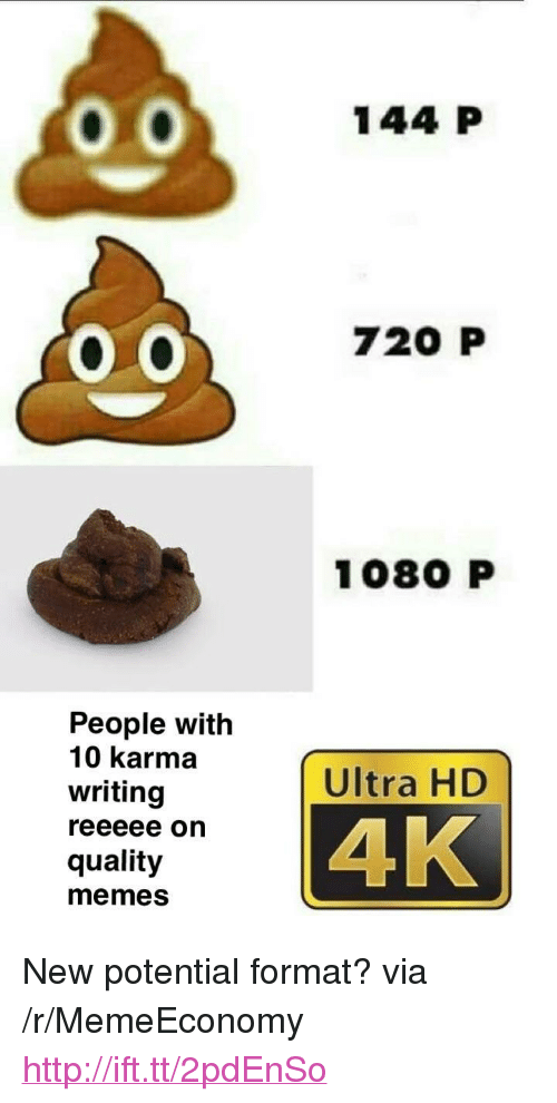 "Quality Memes: 144 P  720 P  1080 P  People with  10 karma  writing  Ultra HD  4K  quality  memes <p>New potential format? via /r/MemeEconomy <a href=""http://ift.tt/2pdEnSo"">http://ift.tt/2pdEnSo</a></p>"