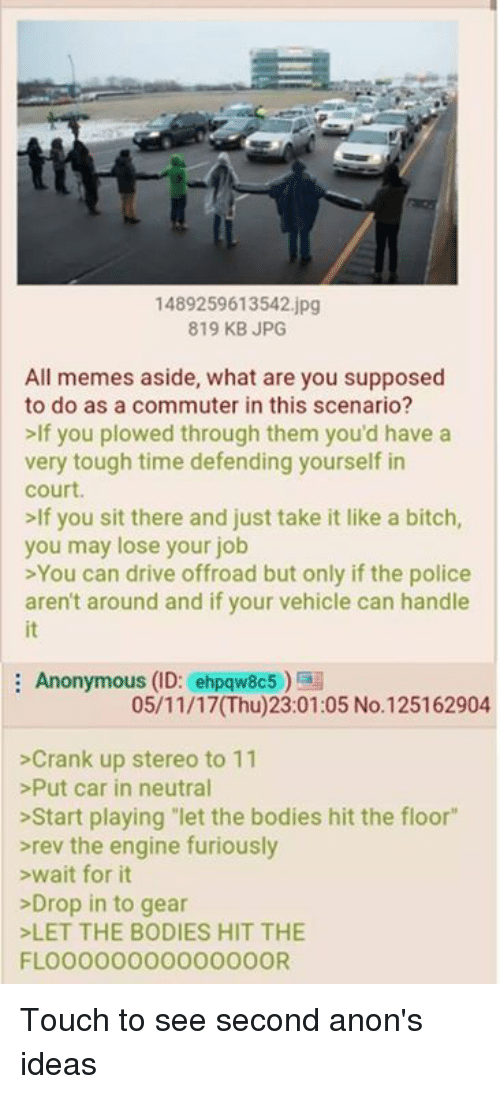 "All Memes: 1489259613542.jpg  819 KB JPG  All memes aside, what are you supposed  to do as a commuter in this scenario?  >If you plowed through them you'd have a  very tough time defending yourself in  court  lf you sit there and just take it like a bitch  you may lose your job  >You can drive offroad but only if the police  aren't around and if your vehicle can handle  it  Anonymous (ID: ehpqw8c5)  05/11/17(Thu)23:01:05 No.125162904  >Crank up stereo to 11  >Put car in neutral  >Start playing let the bodies hit the floor""  rev the engine furiously  >wait for it  >Drop in to gear  LET THE BODIES HIT THE  FLOO000000000000OR Touch to see second anon's ideas"