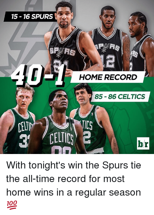 Celtic: 15-16 SPURS  HOME RECORD  85-86 CELTICS  br With tonight's win the Spurs tie the all-time record for most home wins in a regular season 💯