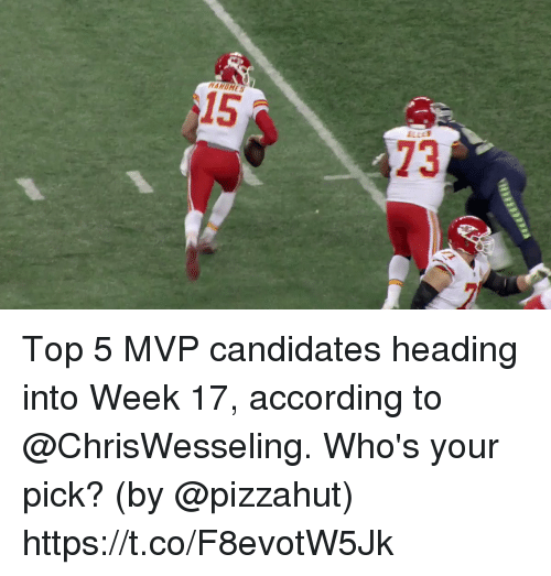 Pizzahut: 15  73 Top 5 MVP candidates heading into Week 17, according to @ChrisWesseling.  Who's your pick?  (by @pizzahut) https://t.co/F8evotW5Jk