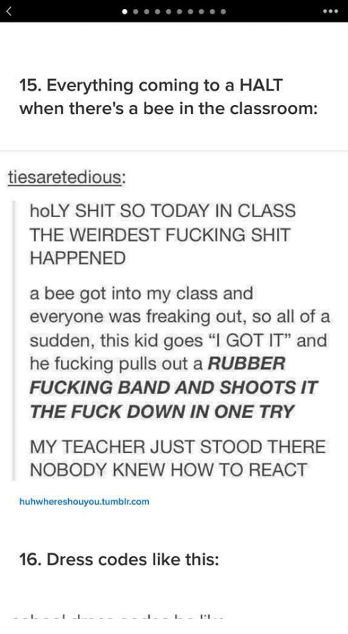 """in the classroom: 15. Everything coming to a HALT  when there's a bee in the classroom:  tiesaretedious:  hoLY SHIT SO TODAY IN CLASS  THE WEIRDEST FUCKING SHIT  HAPPENED  a bee got into my class and  everyone was freaking out, so all of a  sudden, this kid goes """"I GOT IT"""" and  he fucking pulls out a RUBBER  FUCKING BAND AND SHOOTS IT  THE FUCK DOWN IN ONE TRY  MY TEACHER JUST STOOD THERE  NOBODY KNEW HOW TO REACT  huhwhereshouyou.tumblr.com  16. Dress codes like this:"""