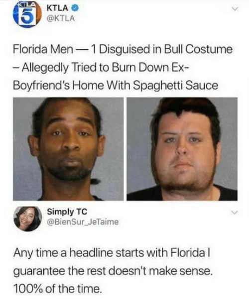Ktla: 15)  Florida Men1 Disguised in Bull Costume  Boyfriend's Home With Spaghetti Sauce  KTLA  @KTLA  Allegedly Tried to Burn Down Ex-  Simply TC  @BienSur JeTaime  Any time a headline starts with Florida l  guarantee the rest doesn't make sense.  100% of the time.
