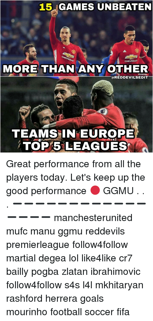 Let Keep: 15  GAMES UNBEATEN  CHEVROLET  MORE THAN ANY OTHER  TTEVROur  REDDEVILSEDIT  TEAMS IN EUROPE  TOP 5 LEAGUES Great performance from all the players today. Let's keep up the good performance 🔴 GGMU . . . ➖➖➖➖➖➖➖➖➖➖➖➖➖➖➖➖ manchesterunited mufc manu ggmu reddevils premierleague follow4follow martial degea lol like4like cr7 bailly pogba zlatan ibrahimovic follow4follow s4s l4l mkhitaryan rashford herrera goals mourinho football soccer fifa