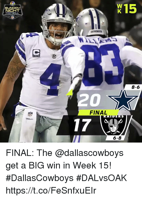 Memes, Nfl, and Sunday: 15  SUNDAY  8-6  20  FINAL  NFL  Dilhon  6-8 FINAL: The @dallascowboys get a BIG win in Week 15! #DallasCowboys  #DALvsOAK https://t.co/FeSnfxuEIr