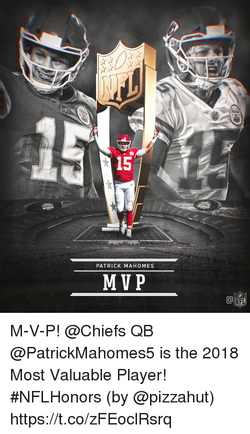 Pizzahut: 15  WORLD  PATRICK MAHOMES  MVP M-V-P!  @Chiefs QB @PatrickMahomes5 is the 2018 Most Valuable Player! #NFLHonors (by @pizzahut) https://t.co/zFEoclRsrq