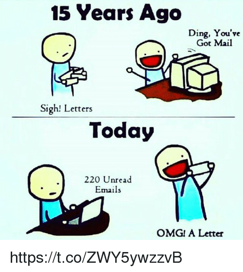 You've Got Mail: 15 Years Ago  Ding, You've  Got Mail  Sigh! Letters  Today  220 Unread  Emails  OMG! A Letter https://t.co/ZWY5ywzzvB