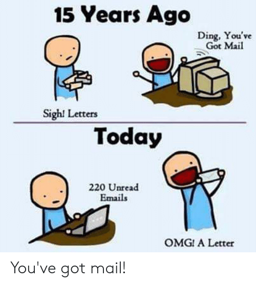 You've Got Mail: 15 Years Ago  Ding, You've  Got Mail  Sigh! Letters  Today  220 Unread  Emails  OMG! A Letter You've got mail!