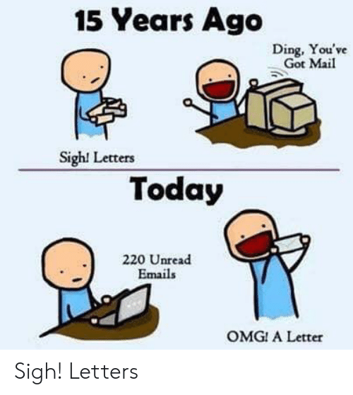 You've Got Mail: 15 Years Ago  Ding, You've  Got Mail  Sigh! Letters  Today  220 Unread  Emails  OMG! A Letter Sigh! Letters