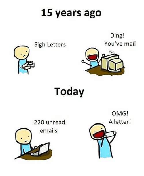 Memes, Omg, and Mail: 15 years ago  Ding!  You've mail  Sigh Letters  Today  OMG!  A letter!  220 unread  emails