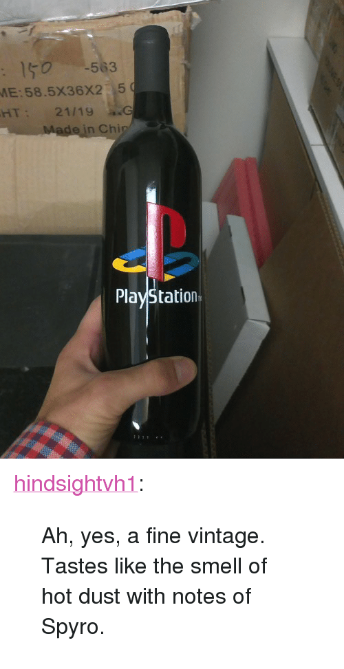 """spyro: 150 563  E:58.5X36X2 5  HT  hi  PlayStation <p><a class=""""tumblr_blog"""" href=""""http://hindsightvh1.tumblr.com/post/105043809589"""">hindsightvh1</a>:</p> <blockquote> <p>Ah, yes, a fine vintage. Tastes like the smell of hot dust with notes of Spyro.</p> </blockquote>"""