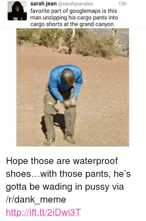 "the grand canyon: 15h  sarah jean@sarahjeanalex  favorite part of googlemaps is this  man unzipping his cargo pants into  cargo shorts at the grand canyon  ay <p>Hope those are waterproof shoes&hellip;with those pants, he's gotta be wading in pussy via /r/dank_meme <a href=""http://ift.tt/2iDwi3T"">http://ift.tt/2iDwi3T</a></p>"