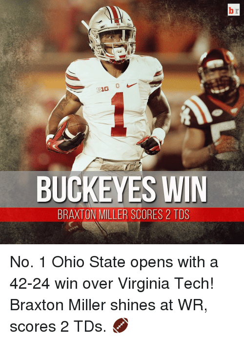 Ohio State: 16  BUCKEYES WIN  BRAXTON MILLER SCORES 2 TDS No. 1 Ohio State opens with a 42-24 win over Virginia Tech! Braxton Miller shines at WR, scores 2 TDs. 🏈