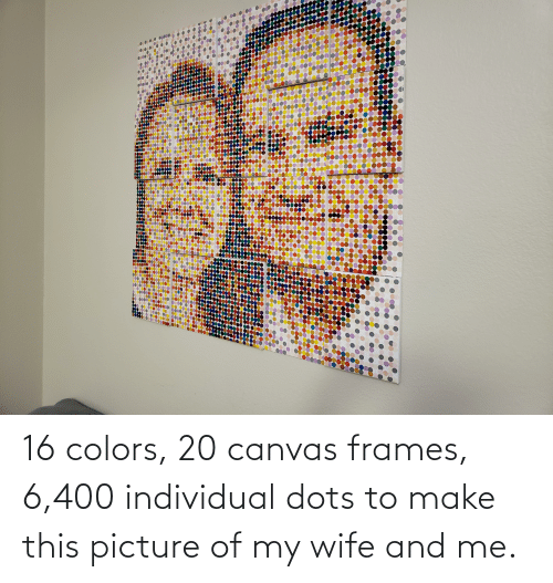 Picture Of My Wife: 16 colors, 20 canvas frames, 6,400 individual dots to make this picture of my wife and me.