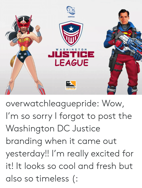 branding: 16  comics  WA SHINGTO N  JUSTICE  LEAGUBE  LEAGUE overwatchleaguepride:  Wow, I'm so sorry I forgot to post the Washington DC Justice branding when it came out yesterday!!I'm really excited for it! It looks so cool and fresh but also so timeless (: