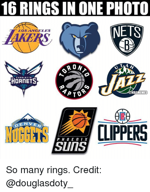 Nba, Charlotte, and Charlotte Hornets: 16 RINGS IN ONE PHOTO  NETS  LOSANGELES  AKE  RS  CHARLOTTE  HORNETS  NBAMEMES  E N  NUGGETS  CLIPPERS  SunS So many rings.  Credit: @douglasdoty_