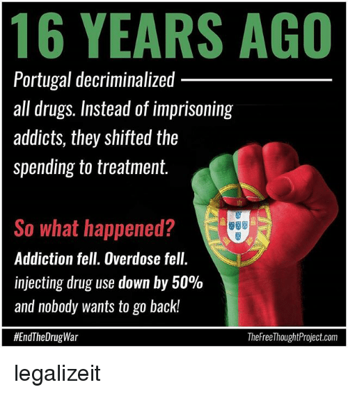 Drugs, Memes, and Portugal: 16 YEARS AGO  Portugal decriminalized  all drugs. Instead of imprisoning  addicts, they shifted the  spending to treatment.  So what happened?  Addiction fell. Overdose fell.  injecting drug use down by 50%  and nobody wants to go back!  #EndTheDrugWar  TheFreel houghtProject.com legalizeit