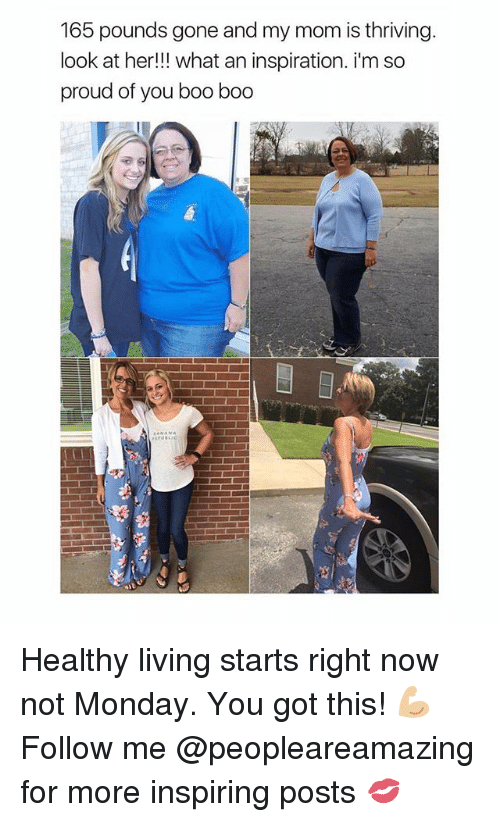 im so proud of you: 165 pounds gone and my mom is thriving  look at her!! what an inspiration. i'm so  proud of you boo boo Healthy living starts right now not Monday. You got this! 💪🏼 Follow me @peopleareamazing for more inspiring posts 💋
