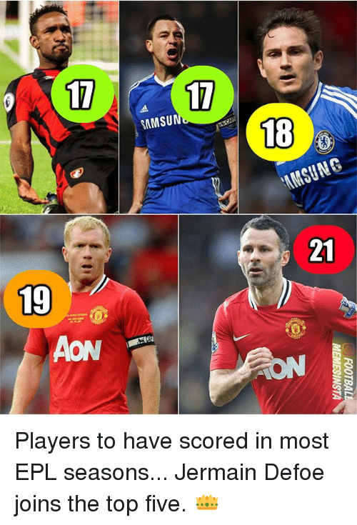 aon: 17  17,  SAMSU  18  21  19  AON Players to have scored in most EPL seasons... Jermain Defoe joins the top five. 👑