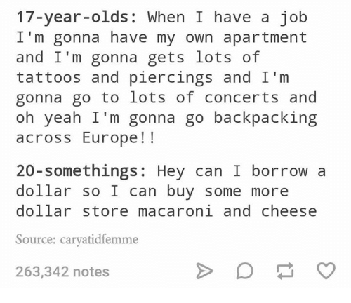 Backpacking: 17-year-olds: When I have a job  I'm gonna have my own apartment  and I'm gonna gets lots of  tattoos and piercings and I'm  gonna go to lots of concerts and  oh yeah I'm gonna go backpacking  across Europe!!  20-somethings: Hey can I borrow a  dollar so I can buy some more  dollar store macaroni and cheese  Source: caryatidfemme  263,342 notes