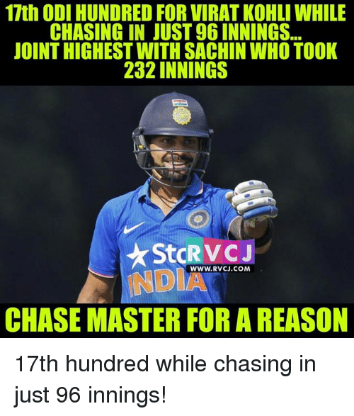 Memes and 🤖: 17th ODI HUNDRED FOR VIRAT KOHLI WHILE  CHASING IN JUST96INNINGS  JOINTHIGHEST WITH SACHIN WHO TOOK  232 INNINGS  WWW. RVCJ.COM  NDI  CHASEMASTERFORAREASON 17th hundred while chasing in just 96 innings!