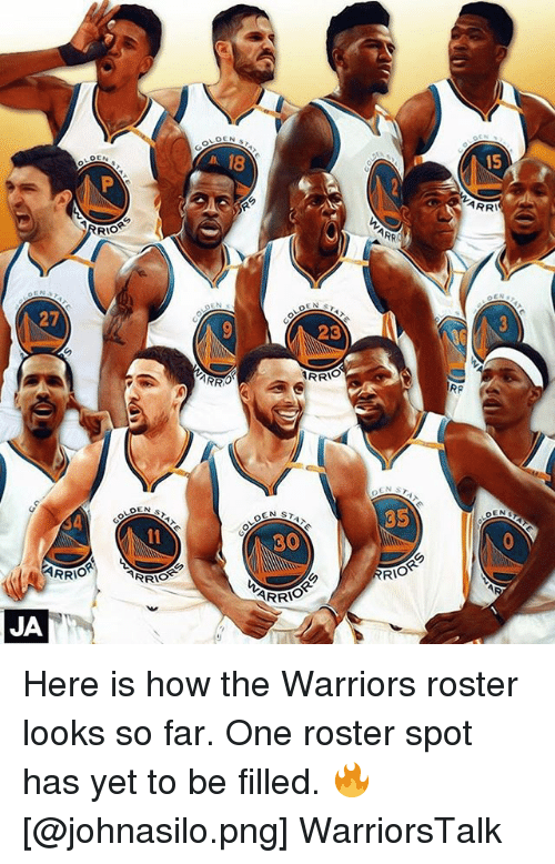 Basketball, Golden State Warriors, and Sports: 18  15  ARR  RRI  ARR  5TAT  27  23  RP  35  OLD  LOG  30  RRIO  RRIOR  RIORっ  JA Here is how the Warriors roster looks so far. One roster spot has yet to be filled. 🔥 [@johnasilo.png] WarriorsTalk