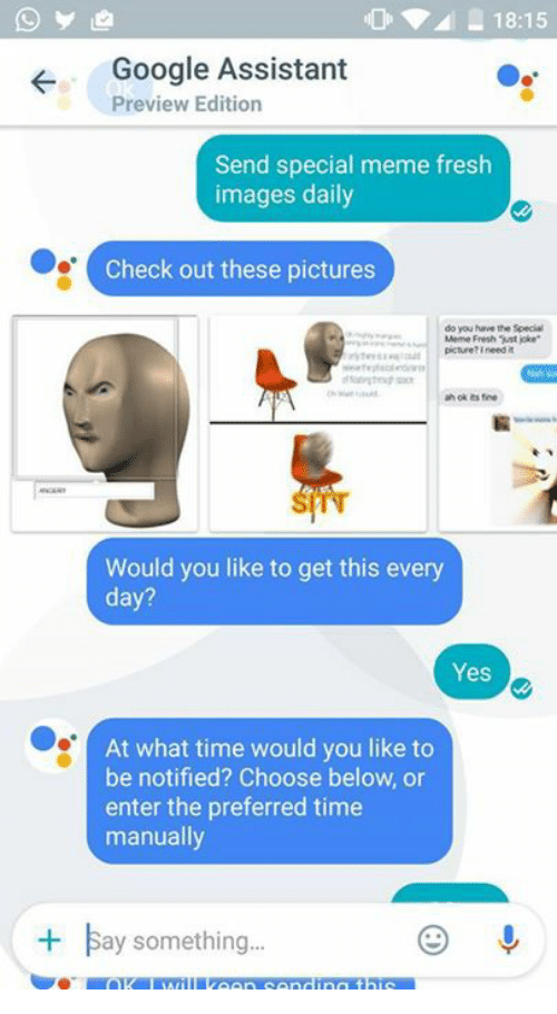 "Fresh, Google, and Meme: 18:15  Google Assistant  Preview Edition  Send special meme fresh  images daily  Check out these pictures  do you have the Special  Meme Fresh st joke""  picture?ineed it  ah ok Its fine  Would you like to get this every  day?  Yes  At what time would you like to  be notified? Choose below, or  enter the preferred time  manually  Bay something..."