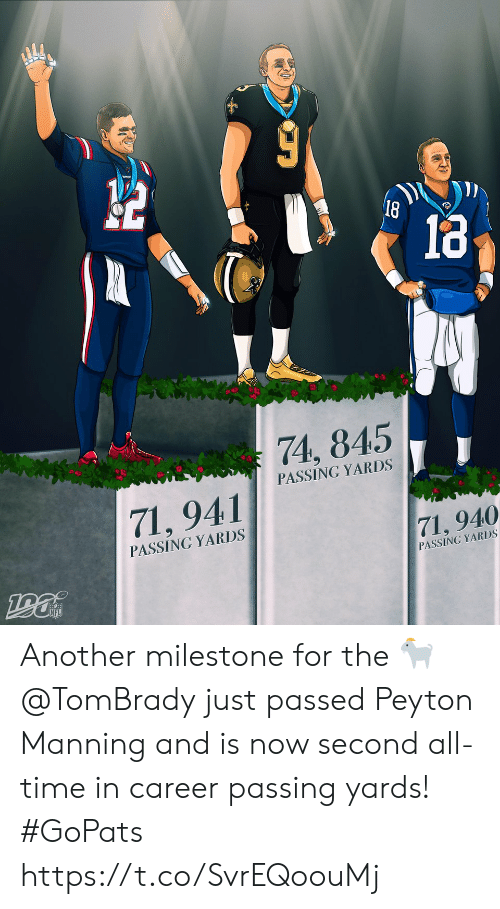 tombrady: 18  74, 845  PASSING YARDS  71,941  PASSING YARDS  71, 940  PASSING YARDS Another milestone for the 🐐  @TomBrady just passed Peyton Manning and is now second all-time in career passing yards! #GoPats https://t.co/SvrEQoouMj