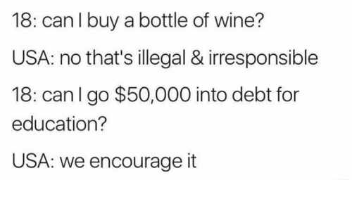 Memes, Wine, and 🤖: 18: can l buy a bottle of wine?  USA: no that's illegal & irresponsible  18: canl go $50,000 into debt for  education?  USA: we encourage it