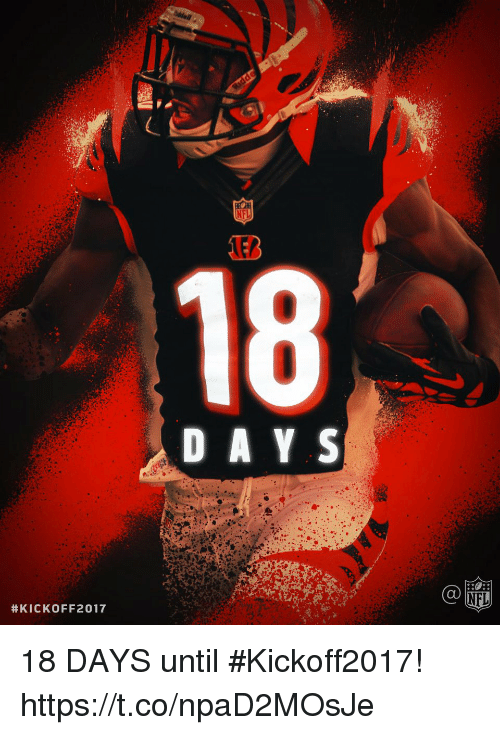 Memes, Nfl, and 🤖: 18  D A Y S  C@  NFL  18 DAYS until #Kickoff2017! https://t.co/npaD2MOsJe