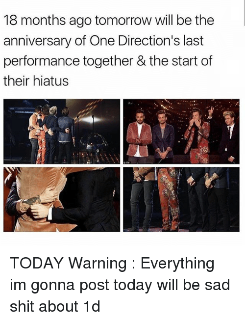 Memes, Shit, and Today: 18 months ago tomorrow will be the  anniversary of One Direction's last  performance together &the start of  their hiatus TODAY Warning : Everything im gonna post today will be sad shit about 1d