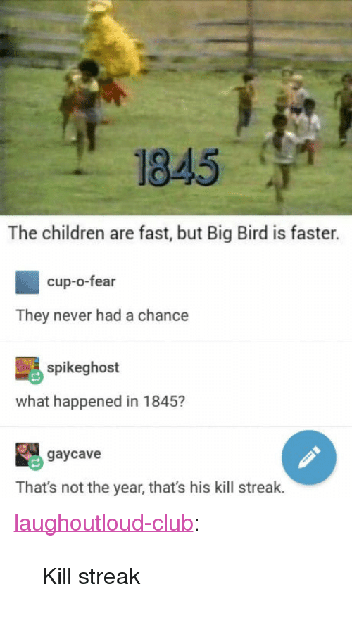 """Kill Streak: 1845  The children are fast, but Big Bird is faster.  cup-o-fear  They never had a chance  spikeghost  what happened in 1845?  gaycave  That's not the year, that's his kill streak. <p><a href=""""http://laughoutloud-club.tumblr.com/post/161029415951/kill-streak"""" class=""""tumblr_blog"""">laughoutloud-club</a>:</p>  <blockquote><p>Kill streak</p></blockquote>"""