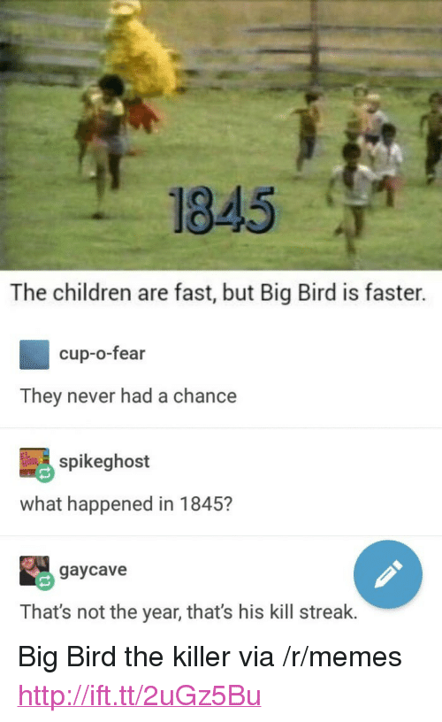 """Kill Streak: 1845  The children are fast, but Big Bird is faster.  cup-o-fear  They never had a chance  spikeghost  what happened in 1845?  gaycave  That's not the year, that's his kill streak. <p>Big Bird the killer via /r/memes <a href=""""http://ift.tt/2uGz5Bu"""">http://ift.tt/2uGz5Bu</a></p>"""