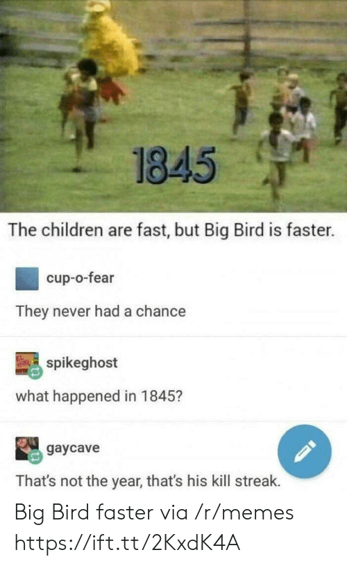 Kill Streak: 1845  The children are fast, but Big Bird is faster.  cup-o-fear  They never had a chance  spikeghost  what happened in 1845?  gaycave  That's not the year, that's his kill streak. Big Bird faster via /r/memes https://ift.tt/2KxdK4A