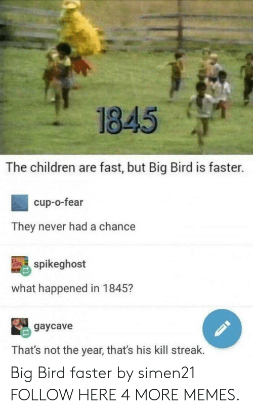 Kill Streak: 1845  The children are fast, but Big Bird is faster.  cup-o-fear  They never had a chance  spikeghost  what happened in 1845?  gaycave  That's not the year, that's his kill streak. Big Bird faster by simen21 FOLLOW HERE 4 MORE MEMES.
