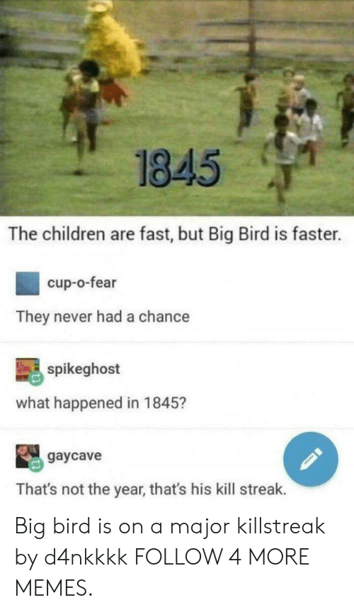 Kill Streak: 1845  The children are fast, but Big Bird is faster.  cup-o-fear  They never had a chance  spikeghost  what happened in 1845?  gaycave  That's not the year, that's his kill streak. Big bird is on a major killstreak by d4nkkkk FOLLOW 4 MORE MEMES.