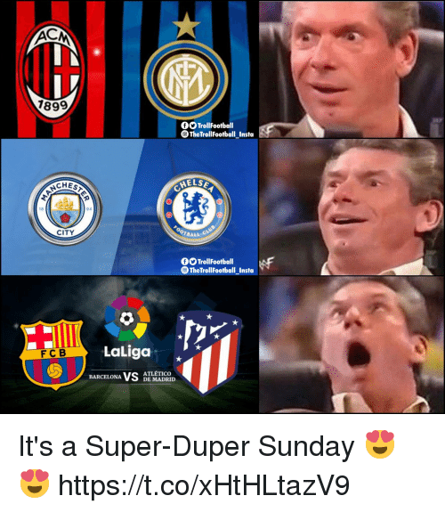 Barcelona, Memes, and Sunday: 1899  O TrollFootball  TheTrollFootball_Instoa  ELSE  CHES  18  94  CITY  OTBALL  OOTrollFootball  TheTrollFootball_Insta  LaLiga x  FCB  BARCELONA VS  ATLÉTICO  DE MADRID It's a Super-Duper Sunday 😍😍 https://t.co/xHtHLtazV9