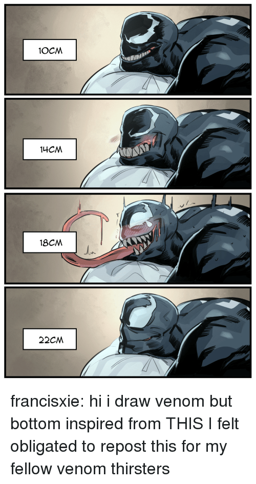 obligated: 18CM francisxie: hi i draw venom but bottom inspired from THIS   I felt obligated to repost this for my fellow venom thirsters