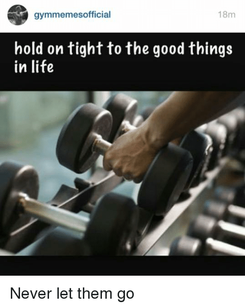 hold on tight: 18m  gymmemes official  hold on tight to the good things  in life Never let them go