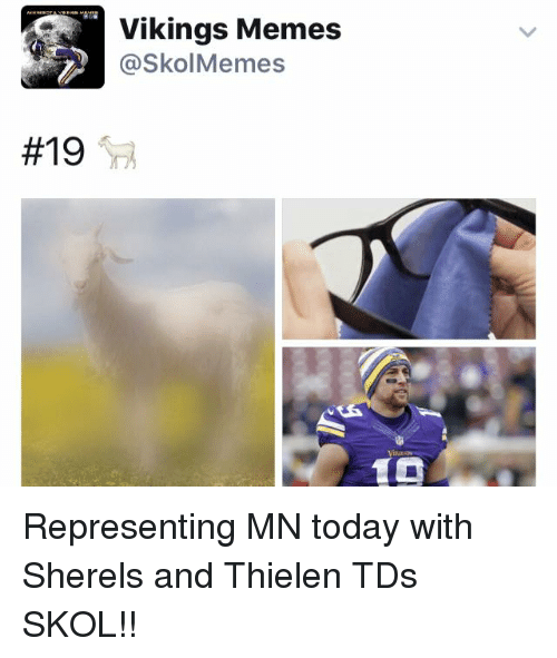 Vikings Memes:  #19  Vikings Memes  @SkolMemes Representing MN today with Sherels and Thielen TDs   SKOL!!