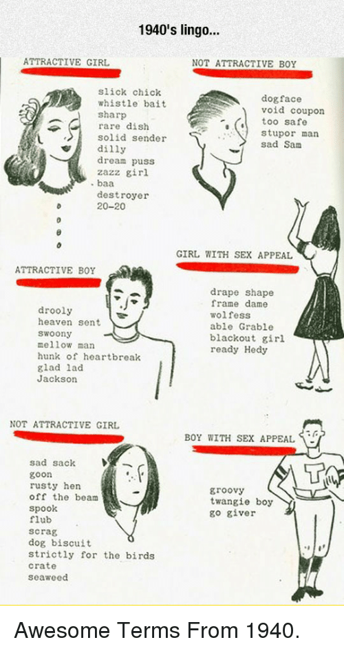 dog face: 1940's lingo..  ATTRACTIVE GIRL  NOT ATTRACTIVE BOY  slick chick  whistle bait  sharp  rare dish  solid sender  dilly  dream puss  zazz girl  dog face  void coupon  too safe  stupor man  sad Sanm  destroyer  20-20  GIRL WITH SEX APPEAL  ATTRACTIVE BOY  drooly  heaven sent  woony  mellow man  hunk of heartbreak  glad lad  Jackson  drape shape  frame dame  wolfess  able Grable  blackout girl  ready Hedy  NOT ATTRACTIVE GIRL  BOY WITH SEX APPEAL  sad sack  goon  rusty hen  off the beam  Spook  flub  scrag  dog biscuit  strictly for the birds  crate  seaweed  groovy  twangie boy  go giver <p>Awesome Terms From 1940.</p>