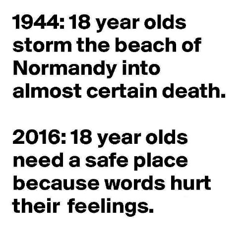 words hurt: 1944:18 year olds  storm the beach of  Normandy into  almost certain death.  2016: 18 year olds  need a safe place  because words hurt  their feelings.