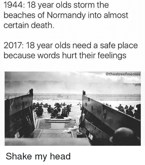words hurt: 1944: 18 year olds storm the  beaches of Normandy into almost  certain death.  2017: 18 year olds need a safe place  because words hurt their feelings  @theatreofmemes Shake my head