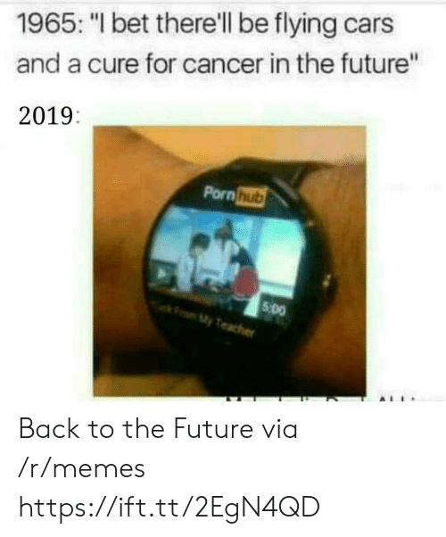 """Back to the Future: 1965: """"I bet there'll be flying cars  and a cure for cancer in the future""""  2019:  Pornhub  5 Do  My Back to the Future via /r/memes https://ift.tt/2EgN4QD"""